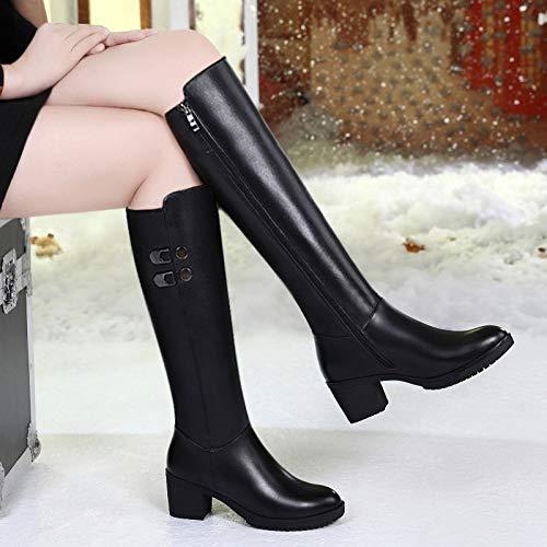 Shukun Stiefeletten Hohe Stiefel Damenstiefel Lederstiefel Herbst und Winter Dicke hochhackige Dicke mit Langen Stiefeln über dem Knie Stiefel Damenschuhe