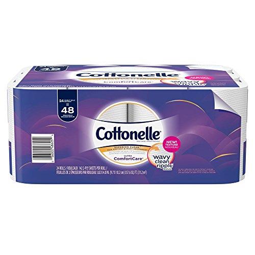 Cottonelle Ultra ComfortCare Toilet Paper, Soft Biodegradable Bath Tissue, Septic-Safe, 24 Double Rolls -