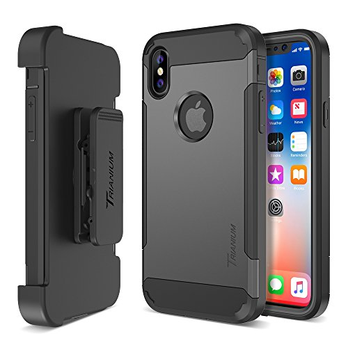 Trianium iPhone X Case [Duranium Series] with Holster Case Heavy Duty Cover / Built-in Screen Protector for Apple iPhoneX / iPhone 10 Phone (2017) Belt Clip Kickstand [Full Body Protection]- Gunmetal