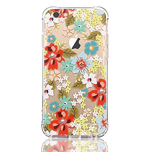 Price comparison product image iPhone 6/6S Case with flowers, LUOLNH Slim Shockproof Clear Floral Pattern Soft Flexible TPU Back Cover [4.7 inch] -Red Flower