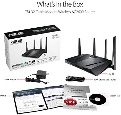 Asus Modem Router Combo - All-in-One DOCSIS 3.0 32x8 Cable Modem + Dual-Band Wireless AC2600 WIFI Gigabit Router – Certified through Comcast Xfinity, Spectrum, Time Warner Cable, Charter, and Cox