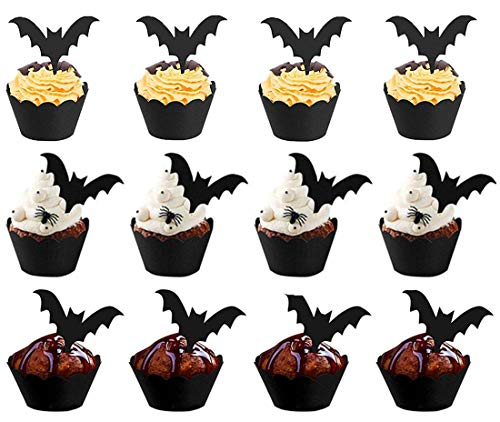 48pcs Halloween Bat Cupcake Toppers Wrappers, Cupcake Liners Halloween Picks for Halloween Party Cake Decoration