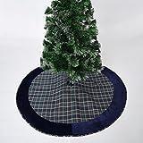 gireshome 42 blue plaid christmas tree skirt with blue velvet border xmas tree decoration merry - Peacock Christmas Tree Skirt