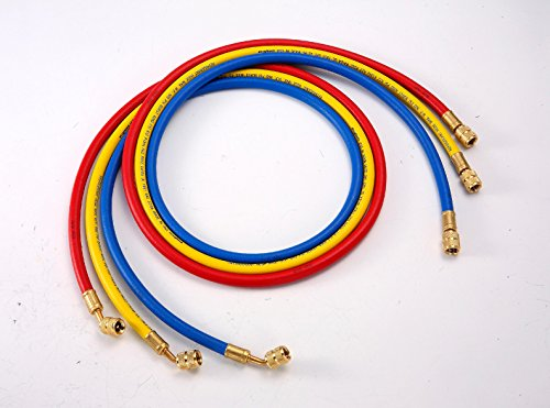 "ELANMAX 1/4"" Standard 3-pc AC Charging Hose Set For All CFC, HCFC, and HFC Refrigerants, 72"