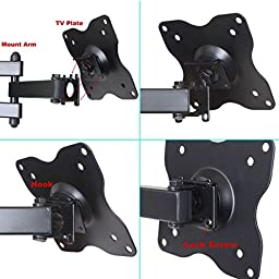 VideoSecu ML12B TV LCD Monitor Wall Mount Full Motion 15-Inch Extension Arm Articulating Tilt Swivel for Most 15 to 27-Inch LED TV Flat Panel Screen with VESA 100x100,75x75 1KX (Black)