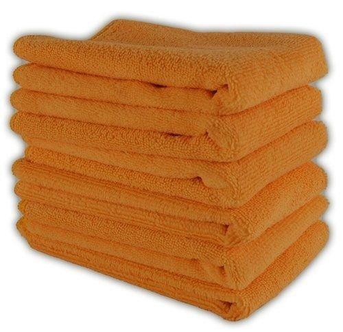 GHP 144Pcs. 16''x16'' Orange Ultra Absorbent Microfiber Cleaning Cloth/Towel