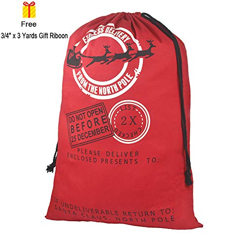 Blank Santa Sack, Personalized Christmas Gift Bag with Drawstringand Gift Ribbon Jumbo Size 27.6
