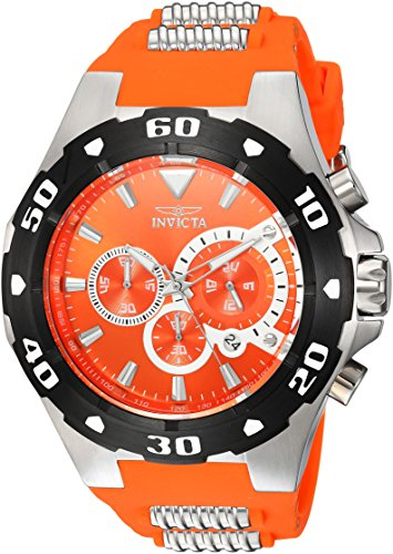 Invicta Men's Pro Diver Stainless Steel Quartz Watch with Polyurethane Strap, Orange, 30 (Model: ()