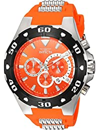 Invicta Men's 'Pro Diver' Quartz Stainless Steel and Polyurethane Casual Watch, Color:Orange (Model: 24680)