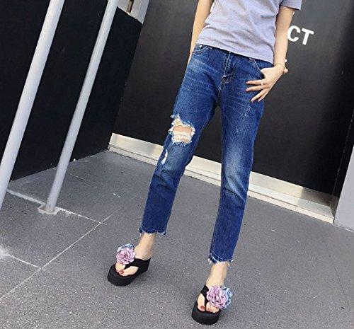 talón azul Cool Antideslizante 35 Remolcar Luz 6cm zapatillas Remolque Ocio Transpirable elegante pendiente 35 Ajunr Moda del Playa Sandalias awzqxFC