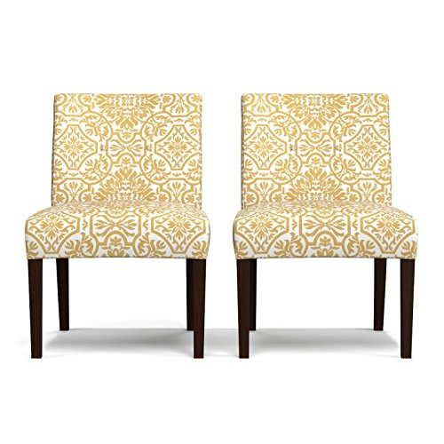 Upholstered Alder Chair (Armless Chairs Clay Alder Home Union Golden Yellow Damask (Set Of 2))