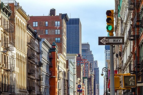 (New York City Street Scene SOHO Lower Manhattan Photo Poster 36x24 inch)