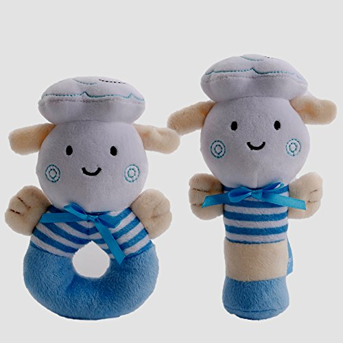 Unique Baby Toys : Baby boy toys soft rattle and sqeaker set plush blue
