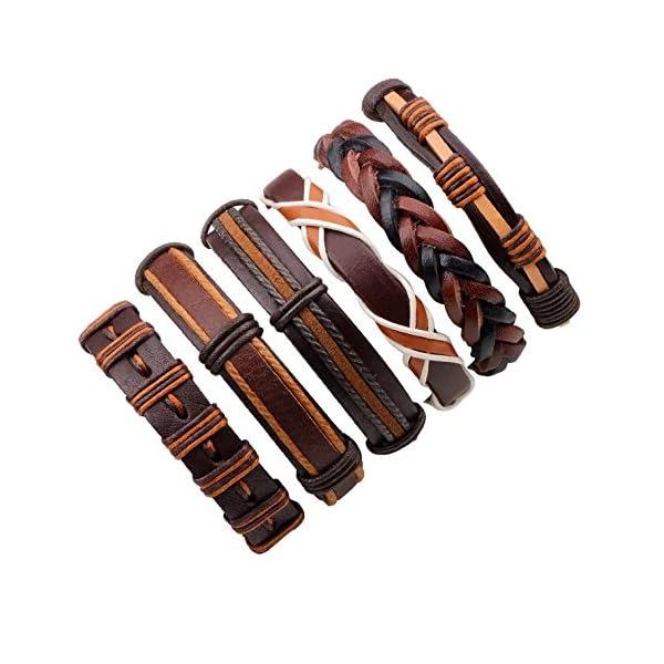 Bogo Arty Braided Leather Bracelets Men Women's Handmade Leather Wristband Adjustable Bracelets