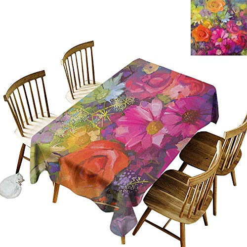 kangkaishi Anti-Wrinkle and Anti-Wrinkle Polyester Long Tablecloth for Weddings/banquets Vibrant Flower Bouquet with Daisy Peony Gerbera Petals Romantic Arrangement Print W60 x L102 Inch Multicolor