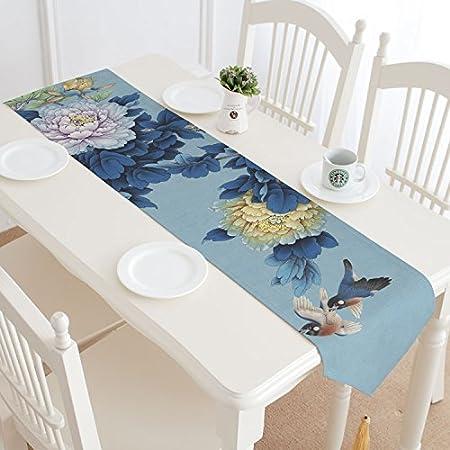 Caminos de mesa Tabla bandera té estera ropa de algodón asiático Zen estilo chino té mantel ceremonia del té té bandera tinta loto estilo chino, tabla de la bandera - mesa original