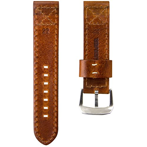 ZULUDIVER Canvas & Italian Leather Watch Strap, Army Green & Vintage Brown, 22mm by ZULUDIVER (Image #4)