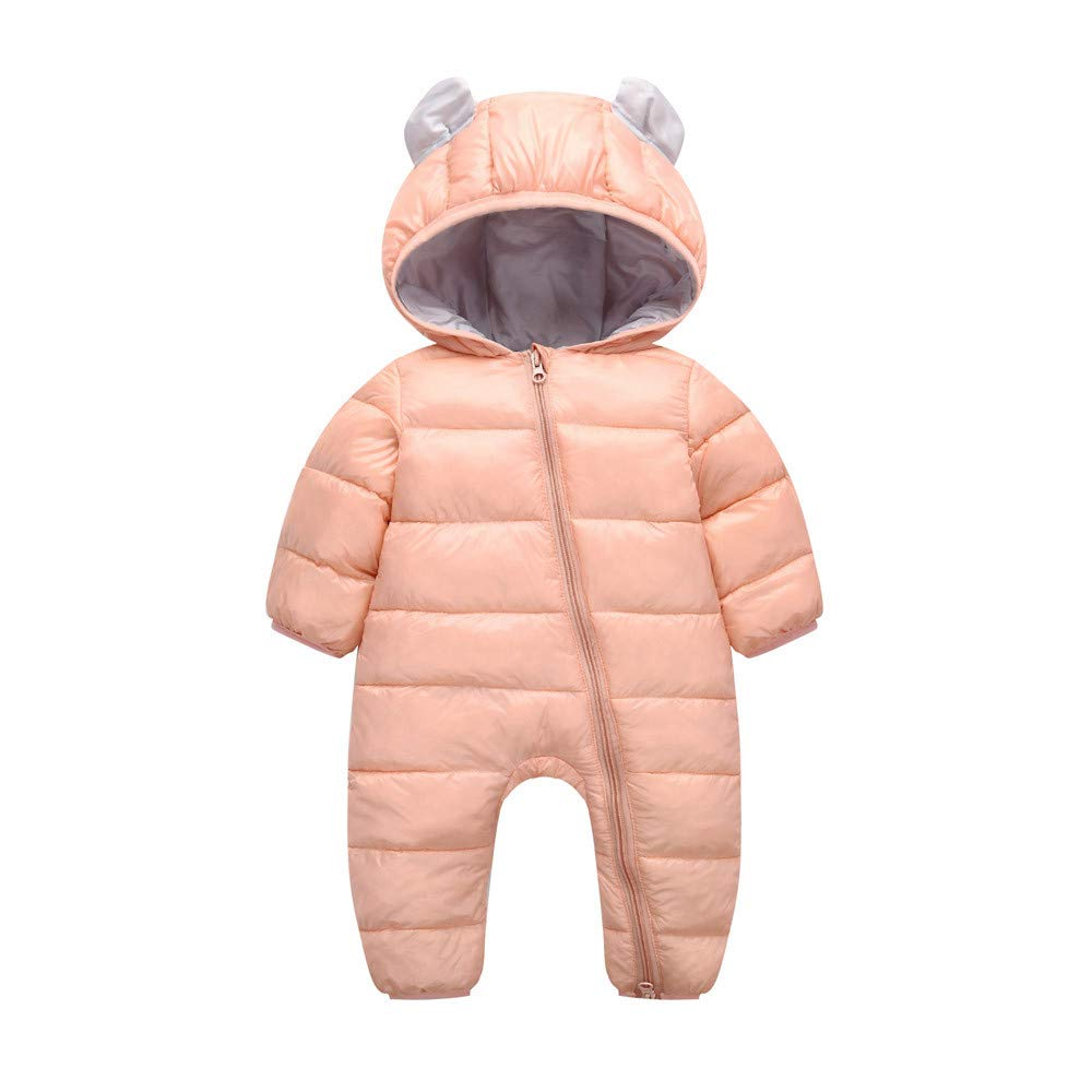 Zerototens Newborn Baby Romper,Infant Toddler Boys Girls Winter Thick Warm Cotton Jumpsuit Padded Down Hooded Outwear Casual Outfit 0-24 Months