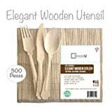 Elegant Disposable Wooden Utensils Cutlery Set, Eco-Friendly Biodegradable Compostable Flatware, For your Special Event, Party, Wedding, 300pc, 100 Forks, 100 Spoons, 100 Knives, 7.75'' Length GO GREE