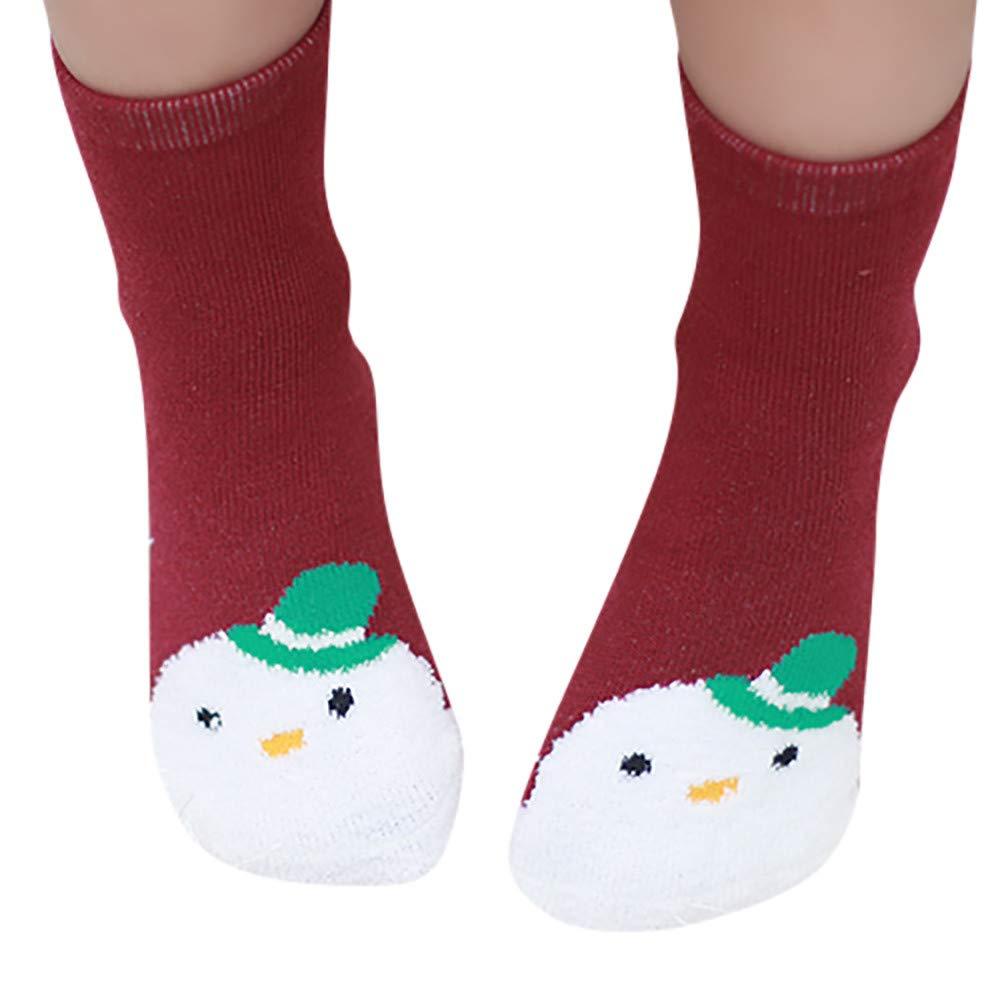 Stheanoo Cute Socks for Newborn Baby Christmas Snowman Medium Socks Anti-Slip Baby Step Socks for Girls Boys Blue, S