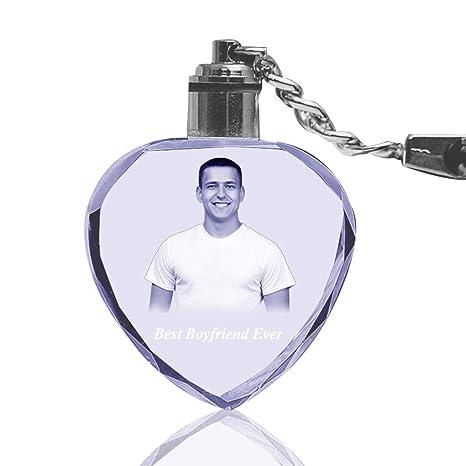 Amazon.com: Qianruna - Llavero de cristal grabado a láser ...