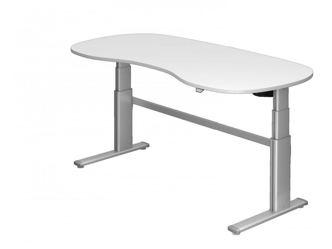 Steh-Sitzschreibtisch DR-Office XD - 200 x 100 cm - 7 Farben - elektrisch höhenverstellbar, Farbe:Weiss