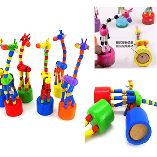 - Matoen Kids Intelligence Dancing Stand Colorful Rocking Wooden Spring Swing Giraffe Wooden Toy (30g, Colorful)
