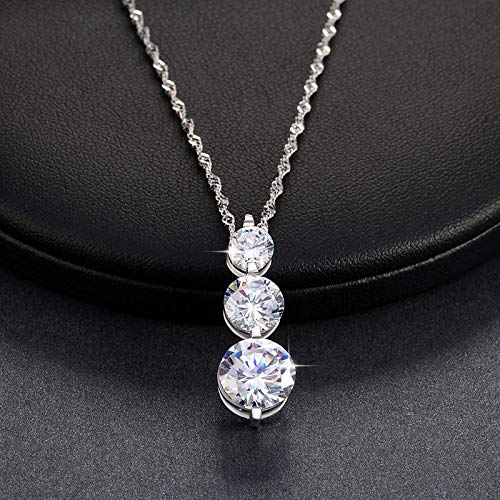 (Promsup Women 4CT CZ Crystal Round Wedding Pendant Necklace Chain Silver Plated Jewelry)