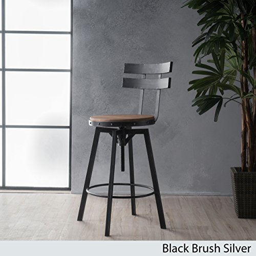 Black Bar Stools Antique (Christopher Knight Home 299933 Jutte Firwood Smooth Back Bar Stool, Black Brush Silver)