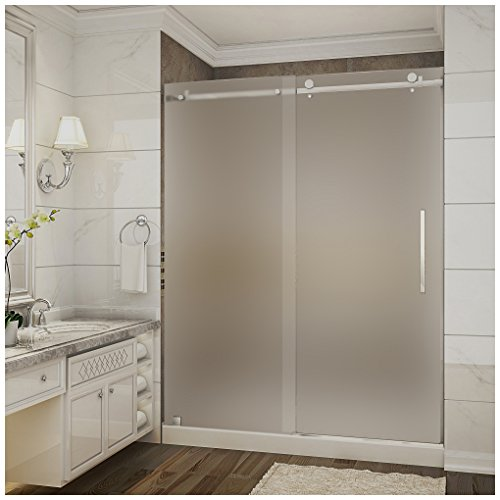 Aston moselle frameless frosted glass sliding shower door chrome establish a brand new look for your bathroom with the aston moselle 60 in x 775 planetlyrics Image collections
