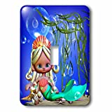"""3dRose LSP_66270_1""""Adorable Mermaid Under The Sea with Bubbles and Shells is A Charmer Single Toggle Switch"""