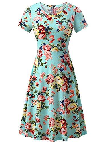 (HUHOT Vintage Floral Dress, Women Short Sleeve A Line Casual Midi Fall Dresses(Flower-14,Medium))