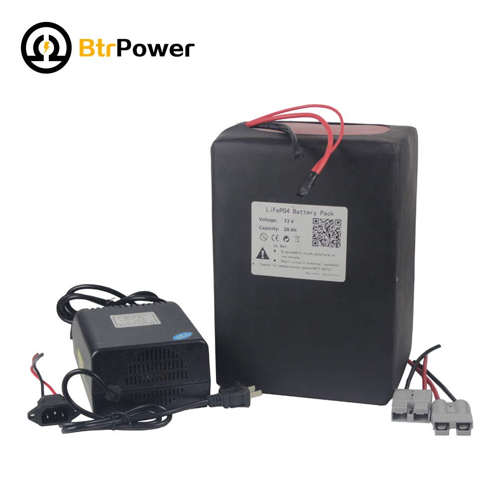 72V 20Ah Ebike Battery Lithium LiFeO4 Battery Pack with 5A Battery Charger for 1500W Electric Bike Scooter