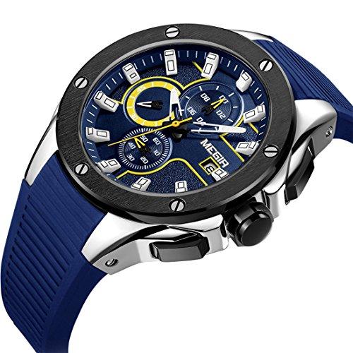 MEGIR Mens Watches Sport Chronograph Waterproof Watch For Men Luxury Blue Rubber Band Quartz Gents Watch -
