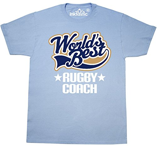 inktastic World's Best Rugby Coach T-Shirt XX-Large Light Blue (454 Rugby)