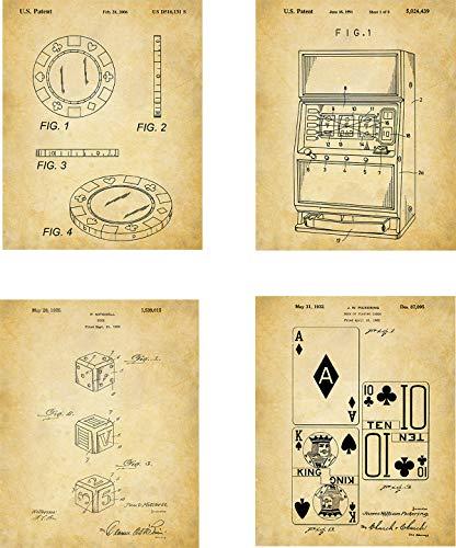 Gambling Patent Wall Art Prints - set of Four (8x10) Unframed - wall art decor for gamblers