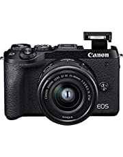 Canon EOS M6 Mark II systeemcamera behuizing, met lens EF-M 15-45 mm F3.5-6.3 IS STM Kit (32,5 megapixels, 7,5 cm (3,0 inch), lcd-aanraakscherm, scherm, Digic 8, 4K-video, wifi, bluetooth), zwart