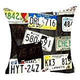 Car License Plate Vintage Cotton Linen Cushion Cover Case for Sofa Living Room Family Office Decorative Throw Pillow Case Cushion Cover Square 18 X 18inches (A) 45cm