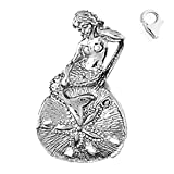Sterling Silver 30mm 3-D Mermaid And Sand Dollar 8.5'' Charm Bracelet