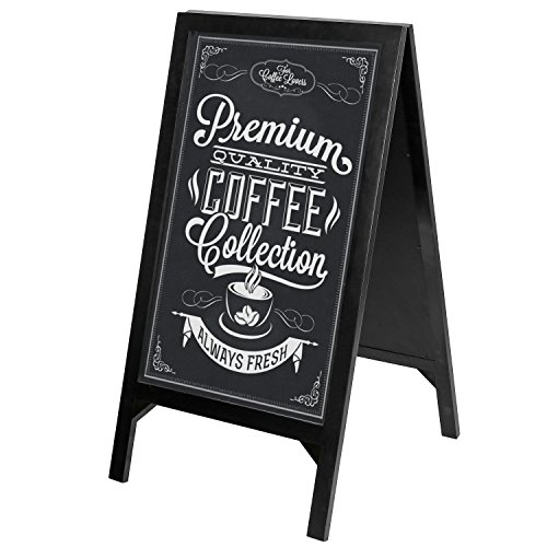 MyGift 42-Inch Black Wood A-Frame 2-Sided Chalkboard Sign, Sidewalk Sandwich Menu Board by MyGift