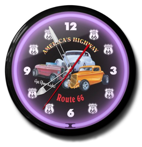 Route 66 America's Highway Get Your Kicks Neon Wall Clock
