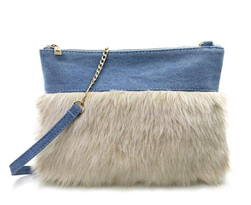 Fur Block Top Zipper Womens Clutch Chain Shoulder Bag (Denim)