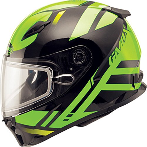 Gmax Mens Ff49 Berg Snow Racing Snowmobile Helmet - Black/Hi-Viz Green Large ()