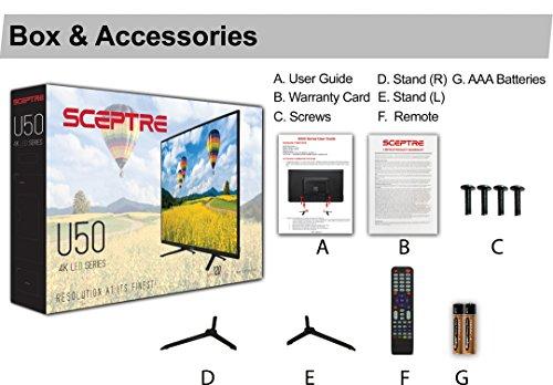 "Sceptre UTV 50"" Class 4K LED TV 3840x2160 U508CV-UMC 4X HDMI Ports, Metal Black"