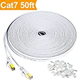 Cat7 Flat Ethernet Cable, [50 FT]10 Gigabit High Speed Shielded (SSTP) Computer network Cord with Gold Plated Snagless Rj45 Connectors for Xbox, PS4, Modem, Router, Networking switch, ADSL -White