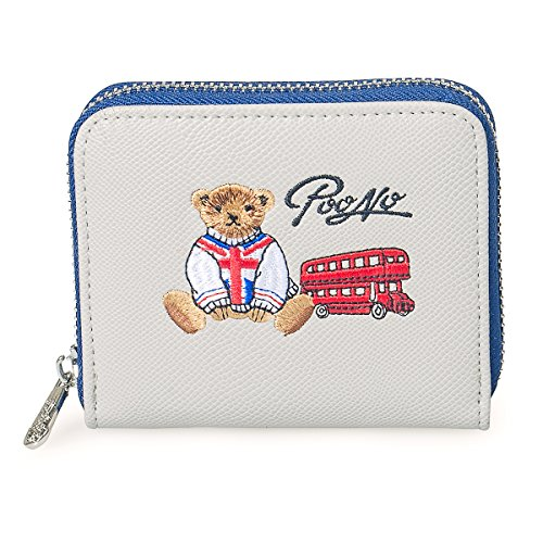 Fency Women's Cute Bear Wallet Embroidered Faux Leather Purse