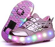 AIkuass Roller Shoes for Girls Boys Kids USB Rechargeable LED Light Up Wheel Shoes Roller Skate Sneaker Shoes