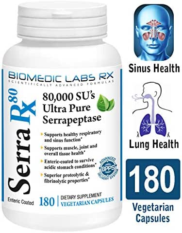 Serra-RX 80,000 SU Serrapeptase - Limited TIME Offer - Enteric Coated Proteolytic Systemic Enzyme, Non-GMO, Gluten Free, Vegan, Supports Sinus & Lung Health, 180 Veg Capsules