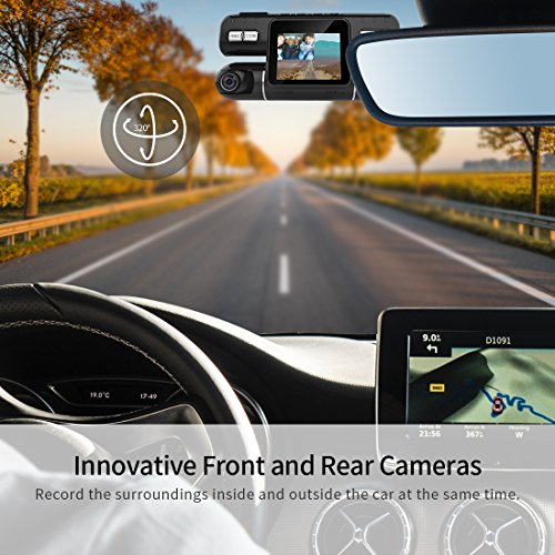 Pruveeo MX2 Dash Cam Front and Rear Dual Camera for Cars, 240 Degree Wide Angle Driving Recorder DVR by PRUVEEO (Image #5)