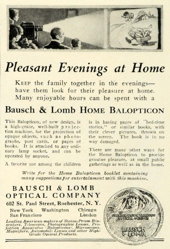 1923 Ad Bausch Lomb Optical Home Balopticon Movie Film Screen Projector Machine - Original Print Ad by PeriodPaper...